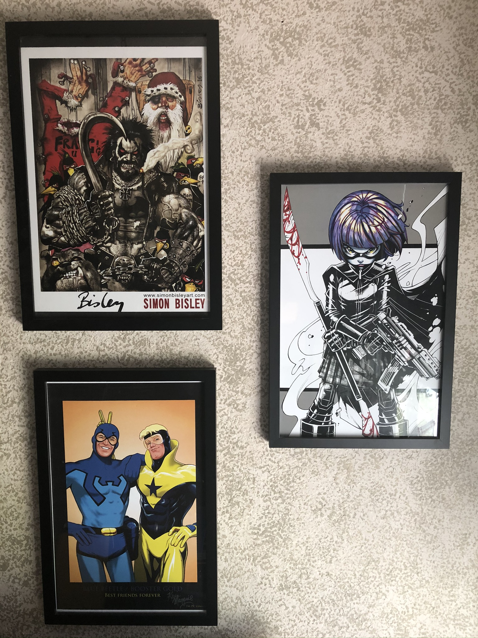 Lobo by Simon Bisley Hit-Girl by Oliver Nome Blue Beetle/Booster Gold by Kevin Maguire