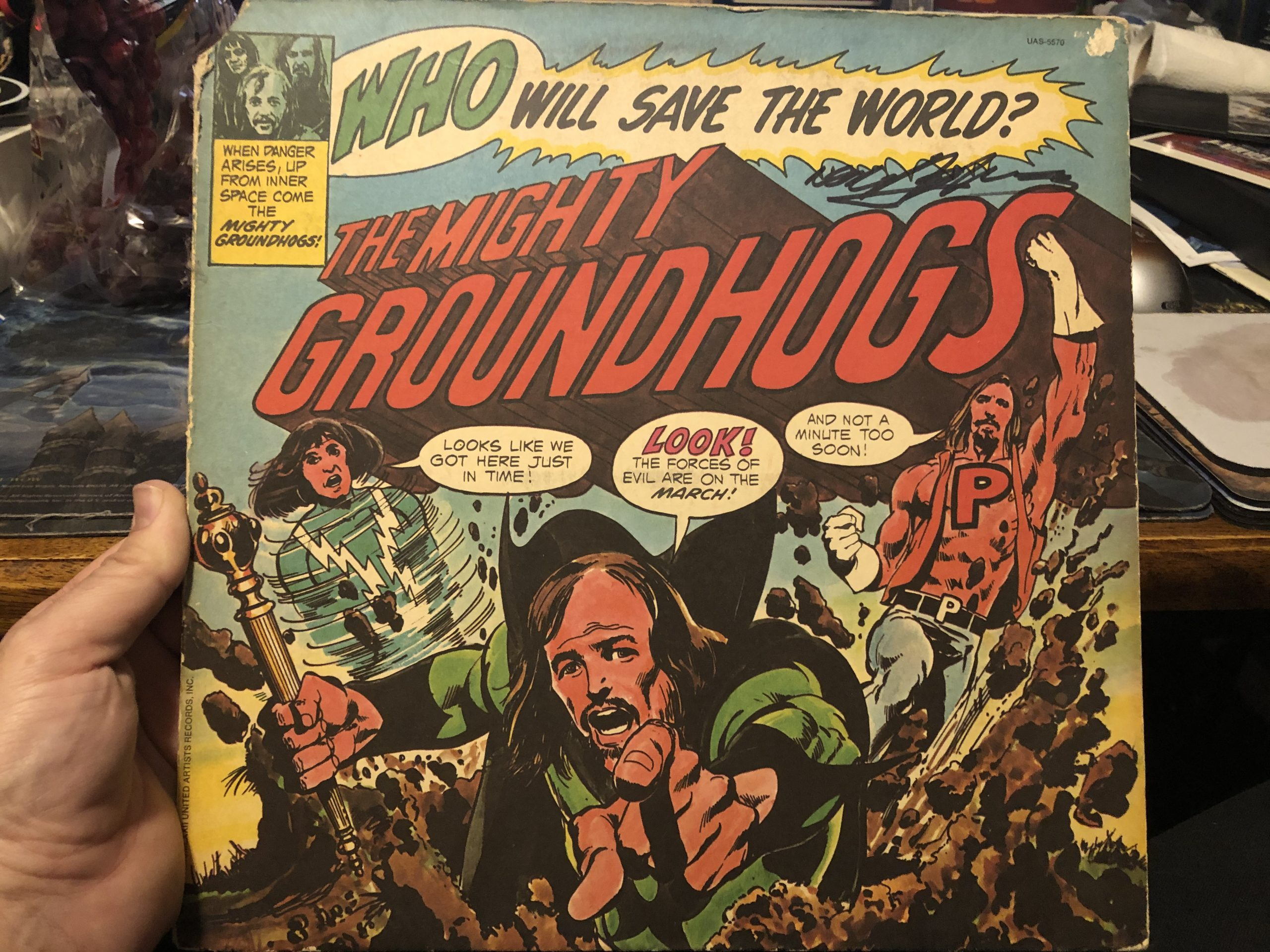 Neal Adams signed Who Will Save the World? Album by The Groundhogs